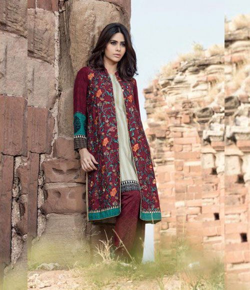 Maria B Embroidered Linen Suits collection MAROON DL-309