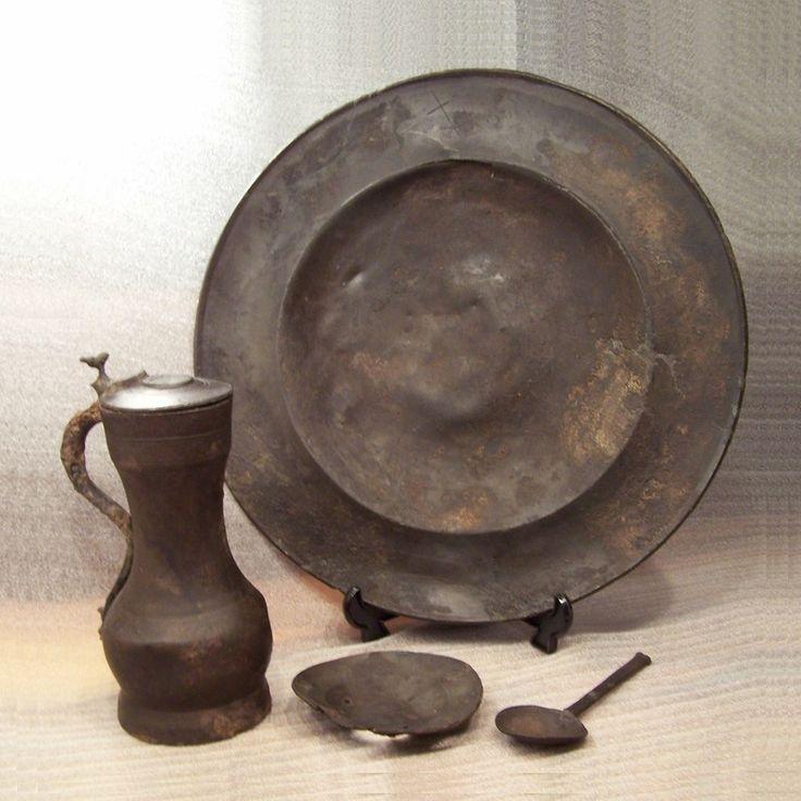 Pewter Treasure Find Plate Jug Spoon Dish 16th