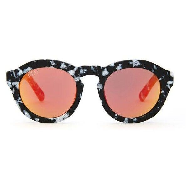 DIME BLACK WHITE FRAME RED GOLD MIRROR POLARIZED LENS ($60) ❤ liked on Polyvore featuring accessories, eyewear, sunglasses, mirrored sunglasses, logo sunglasses, rose gold sunglasses, polarized glass lens sunglasses and round sunglasses
