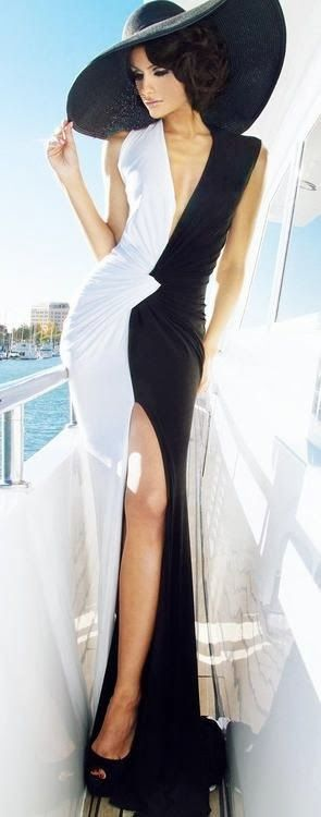 #BlackFashion #Fashion Long black and white combination dress with black hat | Fashion World