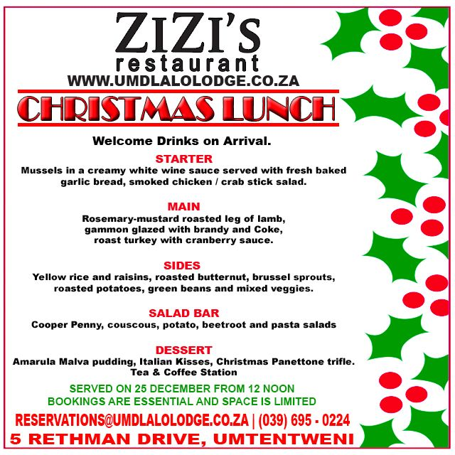 We invite you to #celebrate your #Christmas #lunch in style with us. View our #mouthwatering #menu HERE    #KZNsouthcoast #staysouthcoast