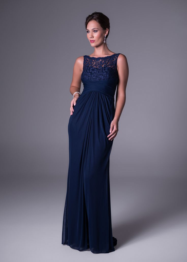 Rouged bodice bridesmaid's dress wih lace neckline detail