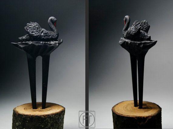 Black Swan  Hairpin  Hairstick Barrette Hair Clip Clamp Hair Accessories