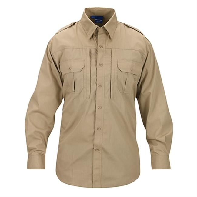 The Propper Lightweight Long Sleeve Tactical Dress Shirt serves as excellent addition to your on duty wardrobe or your casual collection. The shirt is treated with DuPont Teflon to repel spills and stains, while the polyester/cotton ripstop fabric provides comfort, breathability and resilience. Reinforced elbows and gusseted underarms allow for a full range of motion. A longer tail in the back keeps the shirt tucked in without appearing bulky and the collar features a hidden button, so ...