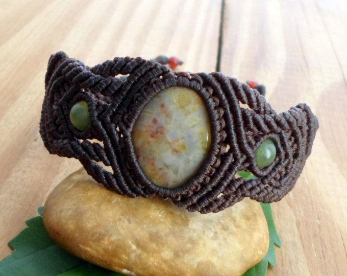 Macrame pulsera de jaspe, piedra de macrame, pulsera hippie, joyería de macrame, pulseras de piedras preciosas, joyería del jaspe, micro macramé, joyería de curación
