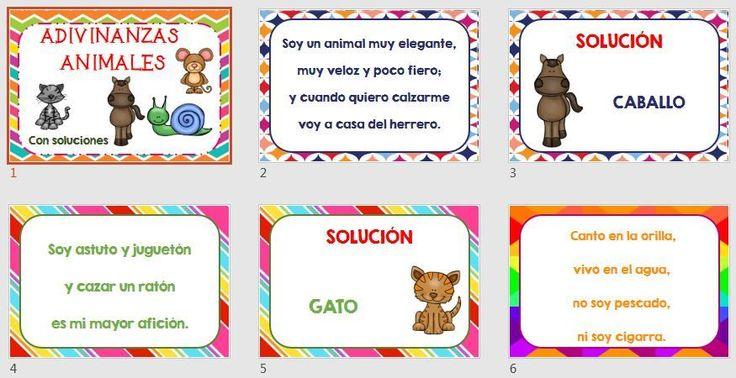 COMPRENSIÓN LECTORA Colección de adivinanzas de animales con soluciones listas para imprimir