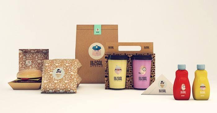 + Design de embalagem :   Projeto da Sweety Branding Studio, para as embalagens da lanchonete Illegal Burger.