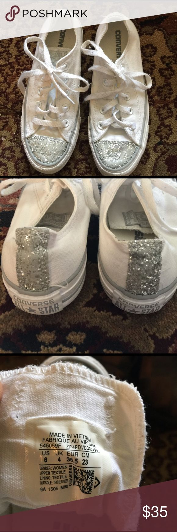 Converse All-Star Sequin Tip Gym-Shoes, Size 6 Super cute Converse All-Stars white sneakers with silver sequin tip and strip on the back. Converse Shoes Sneakers