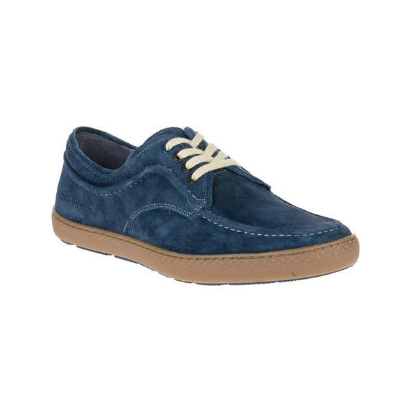 Men's Hush Puppies Teague Roadcrew Moc Toe Shoe - Navy/Gum Suede... ($95) ❤ liked on Polyvore featuring men's fashion, men's shoes, men's loafers, blue, casual, lace up shoes, mens suede shoes, mens blue shoes, mens navy blue suede shoes and hush puppies mens shoes