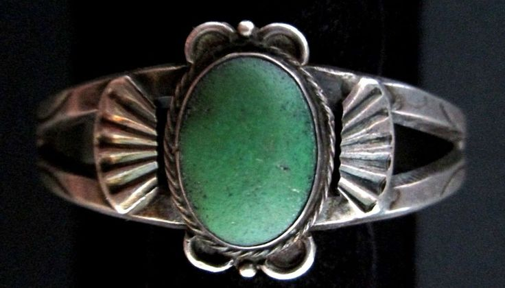 Vintage Old Pawn Silver and Turquoise Bracelet FRED HARVEY Route 66 Signed *182
