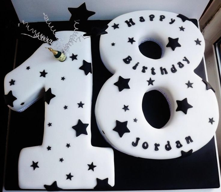 18th Birthday cake with stars | 18th bdaycake boys | Pinterest