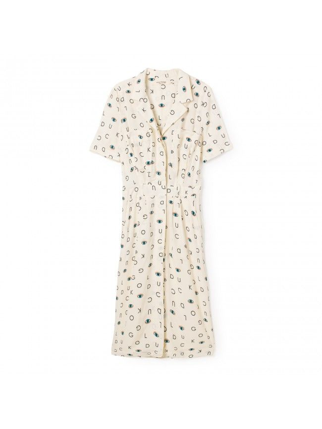 #Vestido con cuello camisero, bolsillos en el pecho estampado con letras y ojos. Colección Nice Things primavera verano 2016 #Fashion #Moda #Dress #Vestidos