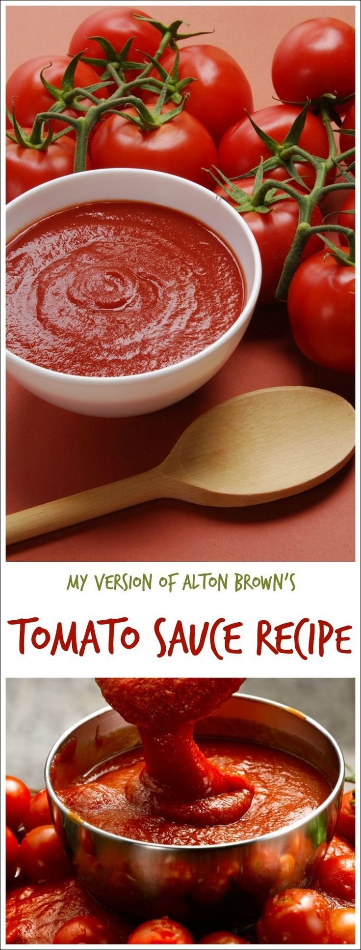 Looking for an easy homemade tomato sauce recipe made from from scratch from tomatoes your garden, store or your farmer's market? Try this easy to make version of Alton Brown's recipe for tomato sauce at This Mama Cooks! On a Diet. Double the batch and freeze the tomato sauce for later!