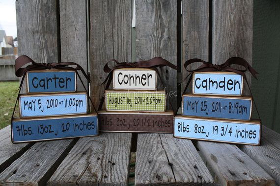 Personalized Name Date blocks for baby