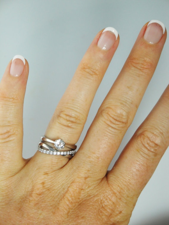 Herkimer Diamond Engagement Ring With Contemporary by greengem, $310.00