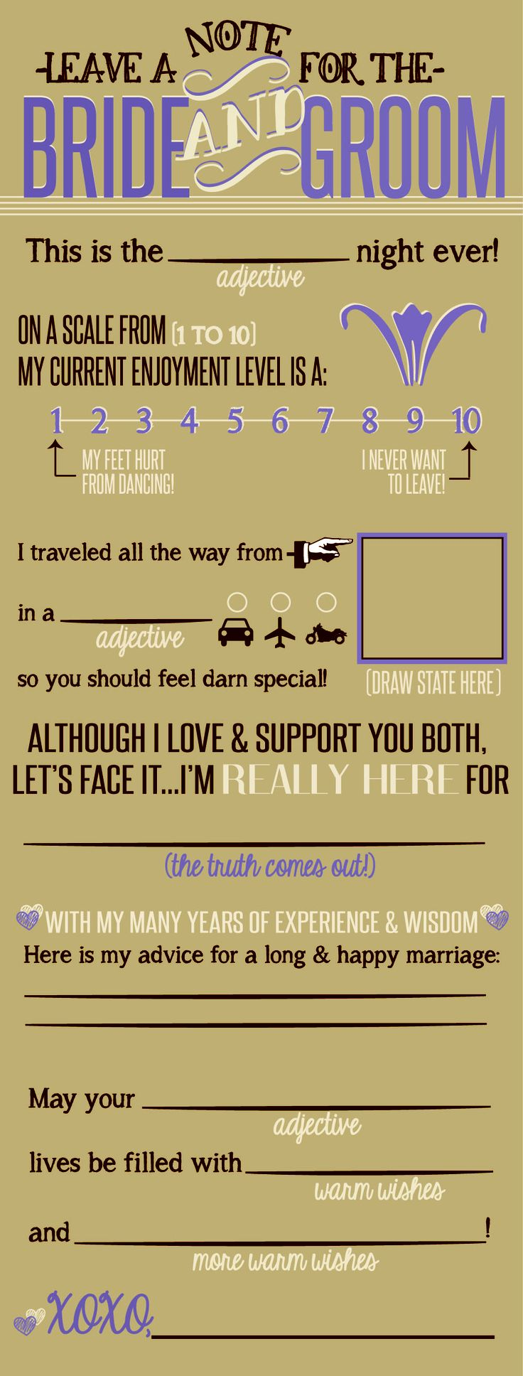 Bride and Groom Note that the guests fill out while they are waiting for dinner - what a cute idea! Maybe even a replacement for a guest book? Perfect for a rustic country wedding - lilac, brown and beige colors :) Print this on kraft paper??