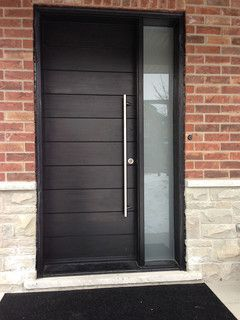 Modern Front Door with Stainless Steel Handle & Side Lite installed By www.windowsanddoorstoronto.ca