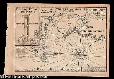 GENOA ITALY PLAN DU PORT DE GENES ANTIQUE ENGRAVING MAP BY P. STARCK-MAN