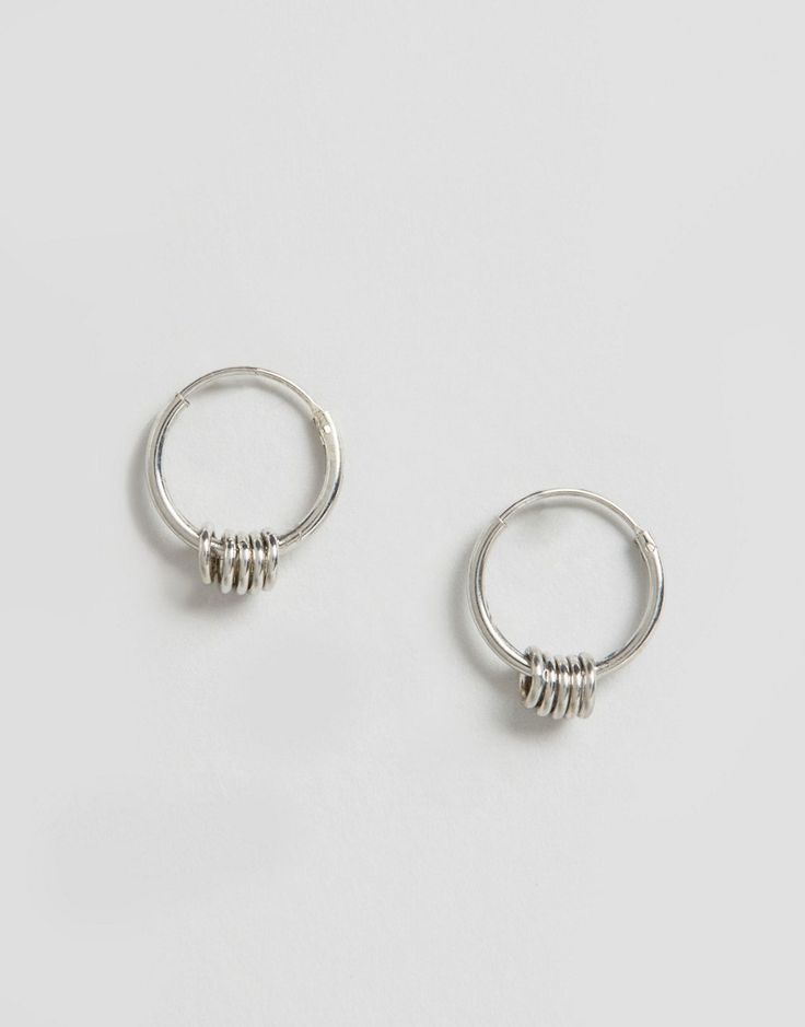 Image 1 of ASOS Sterling Silver Mini Grunge Hoop Earrings