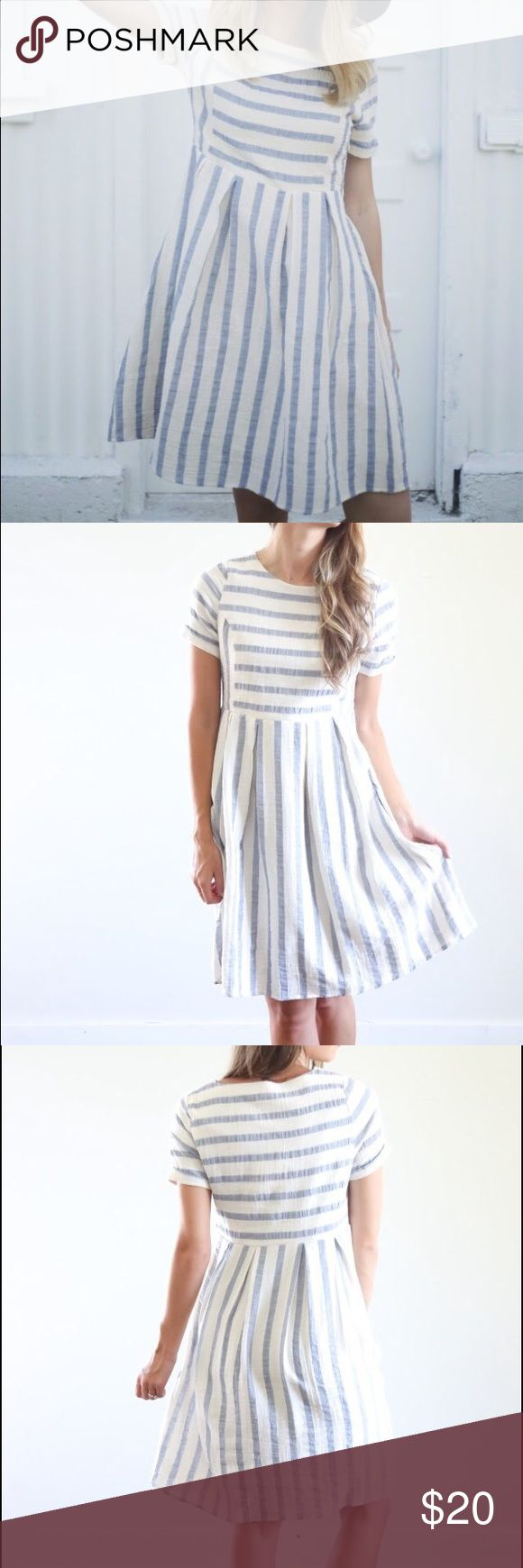 Piper & Scoot Blue/Cream Stripe Day Dress NWOT blue and cream striped day dress from online shop Piper and Scoot. Side zip and with pockets! Fits true to size. (Brand is marked Madewell for exposure.) Madewell Dresses