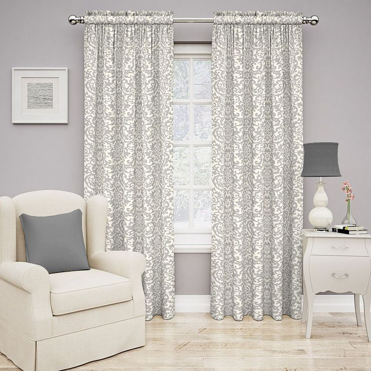 Traditions by Waverly Duncan Damask Curtain, Grey