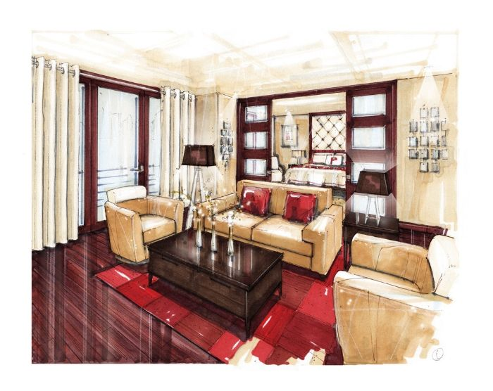 Lovely rendering of bold interior room.  Nice reflection in the floor.