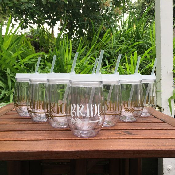 Personalized Wine Tumblers, Bridal Party Cups, Bridesmaid Cups, Bride Tribe, Team Bride, Bachelorette, Stemless Wine Cup, Bev2Go