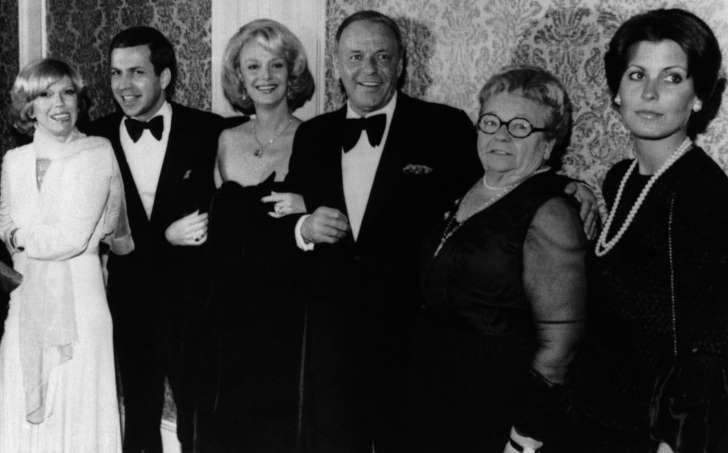 Actor Frank Sinatra, center, poses with his family during an awards presentation, from left, daughter Nancy Sinatra, son Frank Sinatra Jr., Barbara Sinatra, mother Dolly Sinatra, and daughter Tina Sinatra in Los Angeles on November 19, 1976.: Actor Frank Sinatra, centre, poses with his family during an awards presentation, from left, daughter Nancy Sinatra, son Frank Sinatra Jr., Barbara Sinatra, mother Dolly Sinatra, and daughter Tina Sinatra in Los Angeles on Nov. 19, 1976.