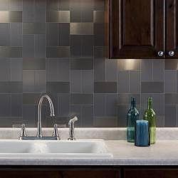 Aspect 3x6 inch brushed stainless long grain metal peel for Easy kitchen backsplash kits
