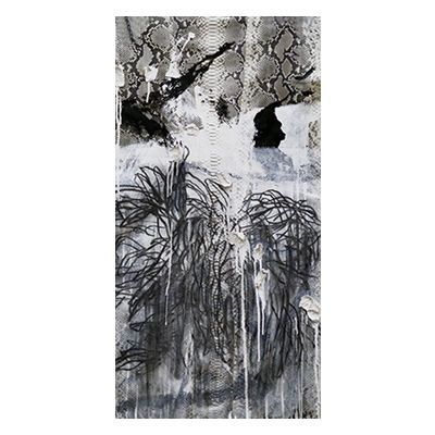"""Triptych II"", mixed media abstract painting and drawing on matte natural python skin by New York City artist Jake Blake.  Blake uses an austere palette of black, white, and grey combining bold brush strokes, heavy layering, and deft, elegant drawing to create depth."