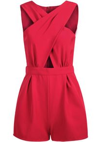 Red Sleeveless Cross Hollow Jumpsuit US$22.83