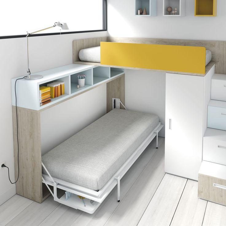 Litera con cama y zona de estudio abatible. http://www.aristamobiliario.es/68-camas-abatibles