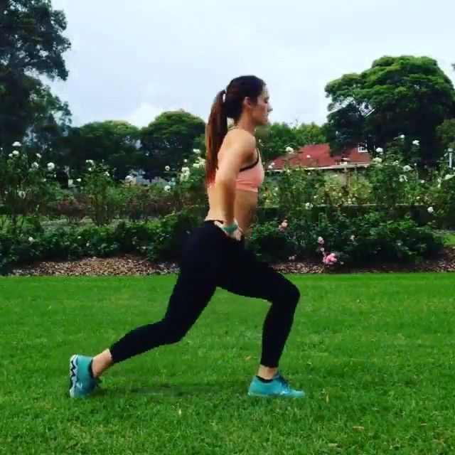 Backyard HIIT booty workout  Credits @achieving_balance  Details:  Perform each move for 30 seconds. 15 seconds rest in between. Complete 4 rounds! ⭐️In/Out Pulse ⭐️Jumping Lunges ⭐️Lateral Squat Hop ⭐️ Squat Jack/ Leg Lift