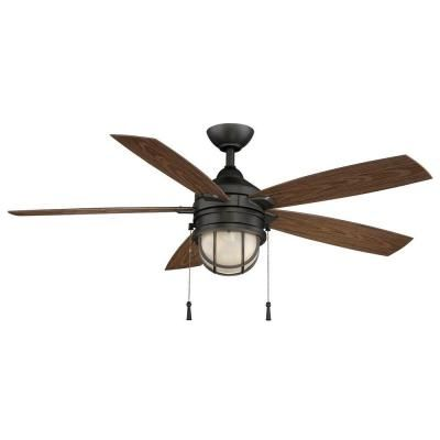 $129. Home Depot. 52 in. Hampton Bay Seaport 52 in. Indoor/Outdoor Natural Iron Ceiling Fan-AL634-NI at The Home Depot