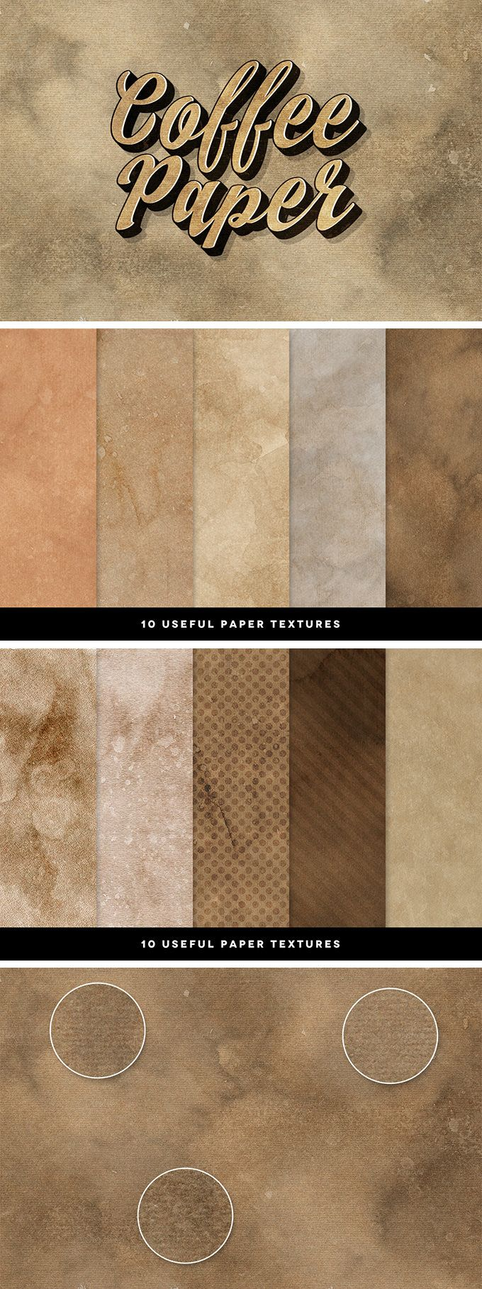 10 Coffee Paper Textures - download freebie by PixelBuddha