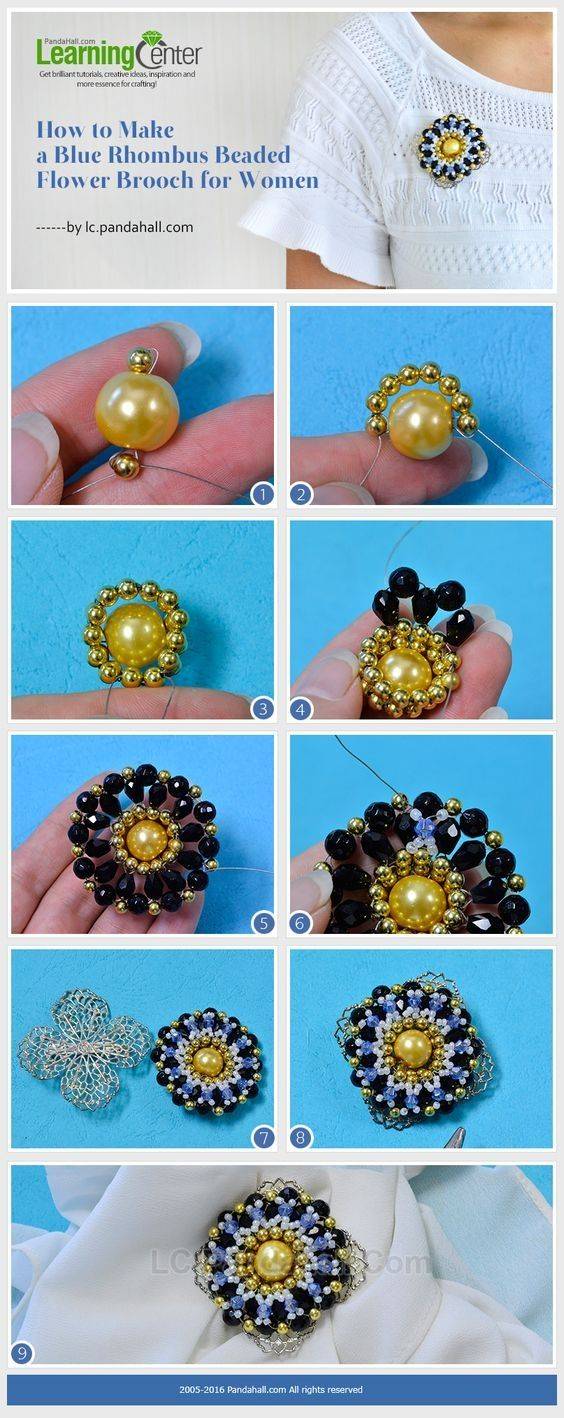 Tutorial on How to Make a Blue Rhombus Beaded Flower Brooch for Women from LC.Pandahall.com #pandahall | Jewelry Making Tutorials & Tips 2 | Pinterest by Jersica