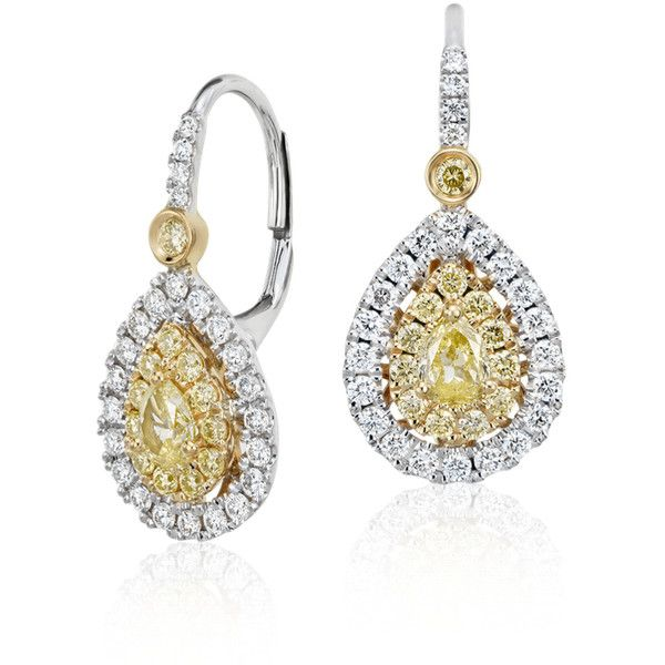 Blue Nile Pear-Shaped Yellow Diamond Double Halo Drop Earrings (21.370 DKK) ❤ liked on Polyvore featuring jewelry, earrings, canary yellow diamond earrings, round drop earrings, drop earrings, round earrings and yellow diamond jewelry