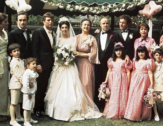 The Godfather: The film kicks off at the traditional Sicilian wedding of Connie Corleone (Talia Shire) to Carlo Rizzi (Gianni Russo). Don Vito Corleone (Marlon Brando) is there to give his daughter away — and take meetings with guests who need something from him.
