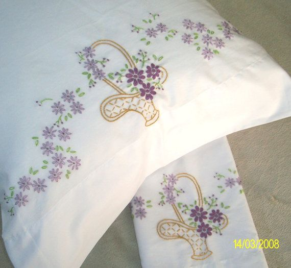 Hand Embroidered Pillowcases Basket of by MyGrandmasThings, $20.00