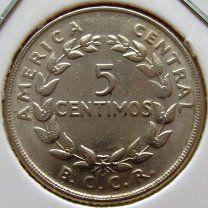 #Коста Рика 5 сентимо 1969 года - 45 р. #  Коста Рика 5 сентимо 1969 года  KM# 184.2 5 CENTIMOS 1.00 g. Copper-Nickel 15 mm. 29510 D16 kКоста-Рика