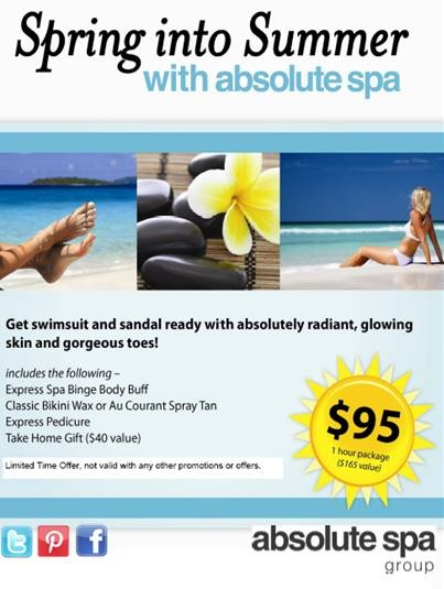 Spring Into Summer Spa Package for only $95! Perfect for a girls trip to the spa! Available at all Absolute Spa locations until May 31, 2013!
