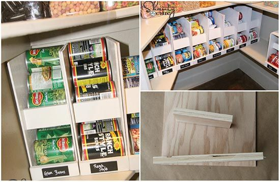 Storing canned food in your kitchen cabinets is an inefficient use of space and you will often find old cans in the back. This easy-to-build shelf system will solve the problem by rotating the cans. The cost is a small fraction of the price of retail canned food systems. There are many variations so modify the plans to suit your needs and abilities..
