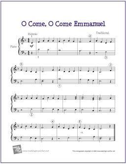 O Come, O Come Emmanuel (Christmas) | Free Sheet Music for Easy Piano - http://makingmusicfun.net/htm/f_printit_free_printable_sheet_music/o-come-emmanuel-piano.htm