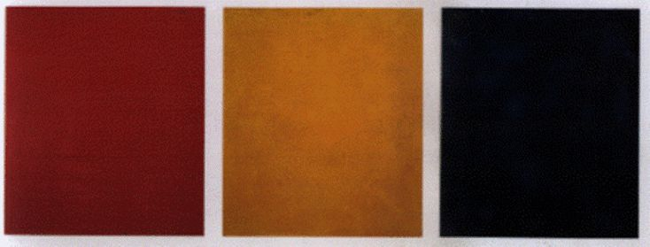 """Aleksandr Rodchenko's """"Red Yellow Blue"""" Triptych (1921): """"I reduced painting to its logical conclusion and exhibited three canvases: red, blue, and yellow. I affirmed: this is the end of painting."""""""