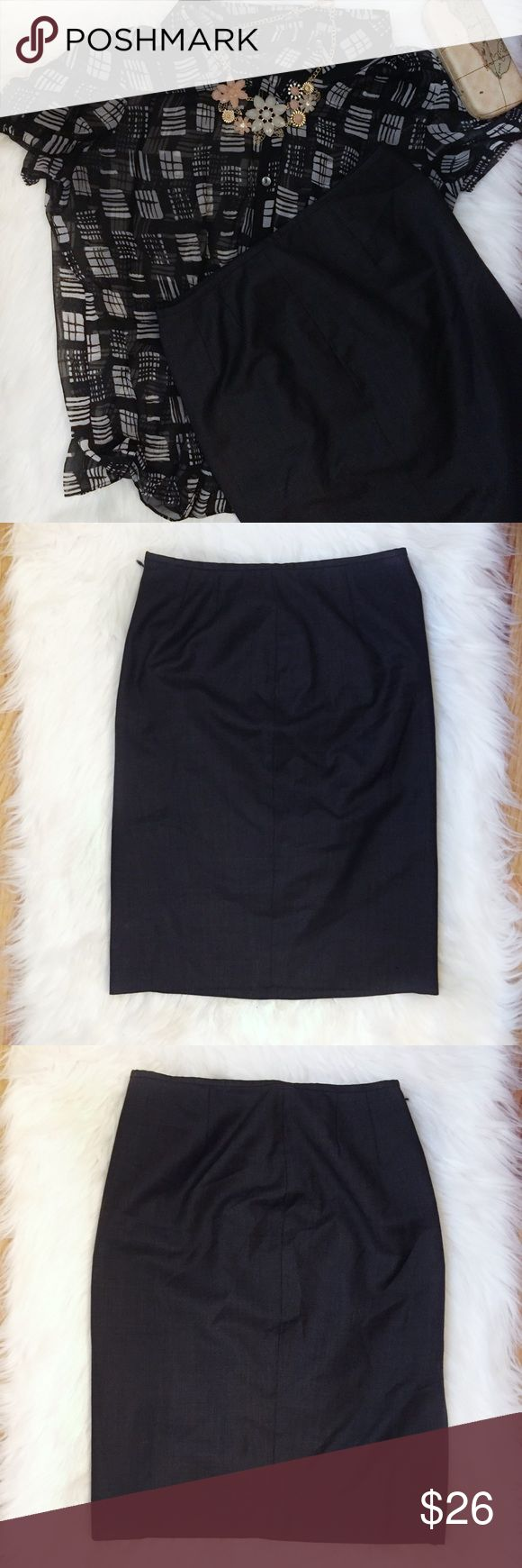 Calvin Klein charcoal gray pencil skirt size 12 Preowned classic skirt from Calvin Klein Back zipper back slit fully lined Straight/pencil style Career type suit skirt Very versatile and classic piece to have in your wardrobe  Color: charcoal gray Gently used condition with no stains or holes Size: 2 Please see pictures for fabric content and approximately measurements while flat, unstretched.  Feel free to make an offer or bundle & save!  (B33) Calvin Klein Skirts Pencil