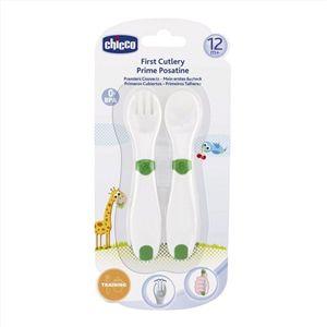 Chicco İlk Kaşıklarım Yeşil 12m+ Şık Tasarım Bebek Çatal-Kaşık  Chicco İle Beslenmek Artık Daha Eğlenceli