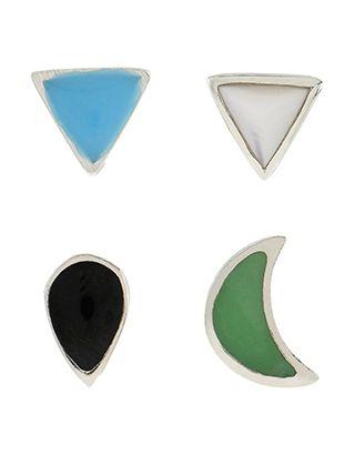 Sterling Silver 4x Geo Mixed Stud Earrings Set