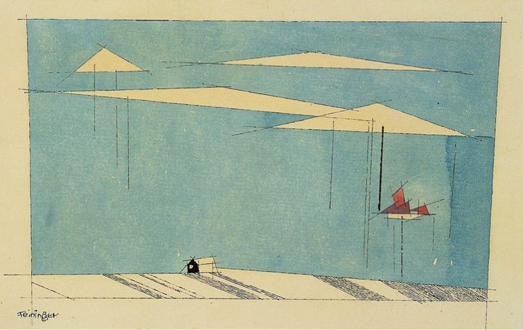 Lyonel Feininger(American, 1871-1956) Blue Shore 1938 Watercolor and India ink on laid paper