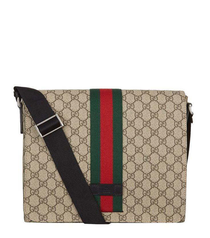 GUCCI GG Supreme Messenger Bag. #gucci #bags #shoulder bags #leather #canvas #