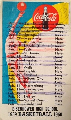 Eisenhower High School basketball schedule 1959-60 Decatur Illinois